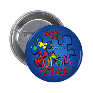 Living With Autism 2 Inch Round Button