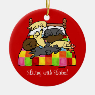 Living with Labradors Cartoon Double-Sided Ceramic Round Christmas Ornament