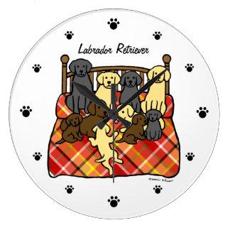 Living with Labradors Cartoon Large Clock