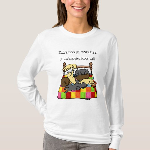 Living with Labradors Cartoon T-Shirt