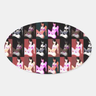 LivingDoll 7 Collage Oval Sticker