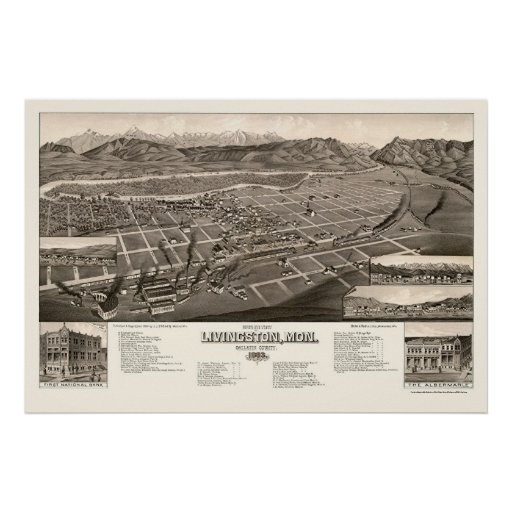 Livingston, mapa panorámico de la TA - 1884 Poster