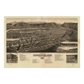 Livingston Montana 1883 Antique Panoramic Map Poster