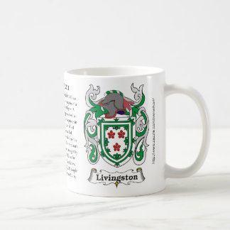Livingston, the origin, meaning and the crest coffee mug