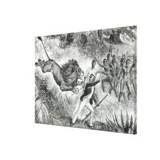 Livingstone atacó por un león (grabado) (b/w pH Lona Estirada Galerias