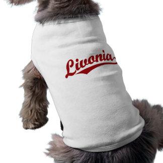 Livonia script logo in red dog t-shirt