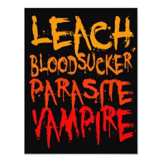 """Lixiviación, Bloodsucker, parásito, vampiro Invitación 4.25"""" X 5.5"""""""