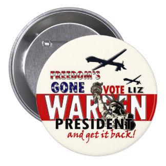 Liz Warren para el presidente Pin Redondo De 3 Pulgadas