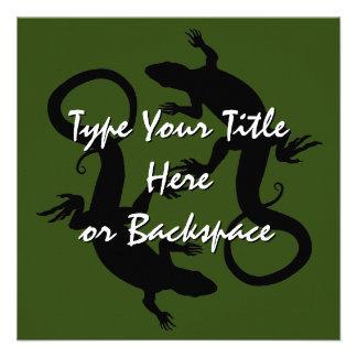 Lizard Art Invitations Personalized Reptile RSVP