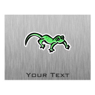 Lizard; brushed metal-look postcard