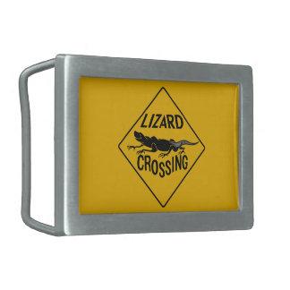 Lizard Crossing, Warning Sign, New Mexico Rectangular Belt Buckle