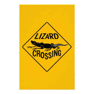 Lizard Crossing, Warning Sign, New Mexico Stationery