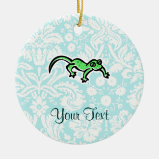 Lizard; Cute Double-Sided Ceramic Round Christmas Ornament