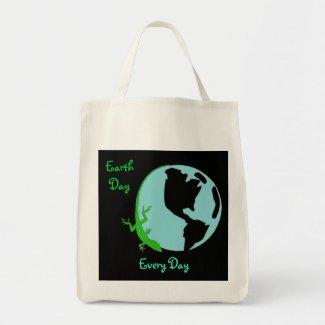 Lizard Earth Day Globe Tote Bag bag