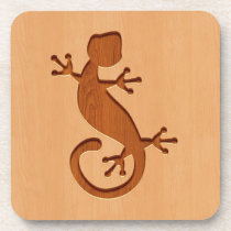 Lizard engraved on wood design drink coaster