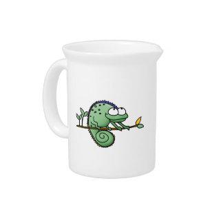 Lizard Funny Cartoon Illustration Drink Pitcher
