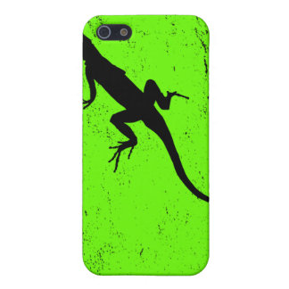 Lizard green with lizard in silhouette iPhone 5 cases