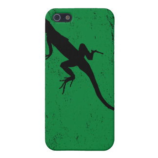 Lizard green with lizard in silhouette iPhone SE/5/5s case