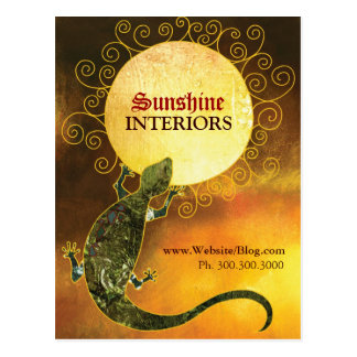 Lizard Holding the Sun Business Promotion Postcard