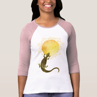 Lizard Holding the Sun: Ladies 3/4 Sleeve Raglan T-Shirt