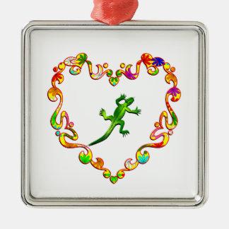 Lizard in Fancy Heart Square Metal Christmas Ornament