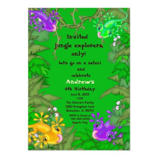 Lizard Jungle Birthday Invitation Zazzle Com