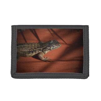 lizard looking down on wood background animal tri-fold wallets