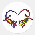 Lizard Love Gecko Cartoon Round Stickers