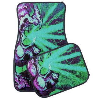 Lizard People Evil Sci fi purple aqua Floor Mat
