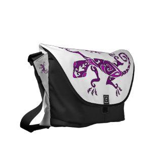 Lizard tattoo/henna in purple messenger bag