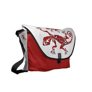 Lizard tattoo/henna in red messenger bag