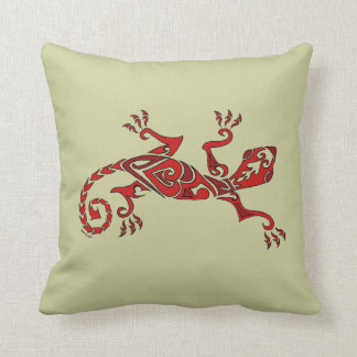 Lizard tattoo/henna in red throw pillow