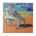 "Lizard - Texas Horny Toad Tile<br><div class=""desc"">a texas horny toad watching a storm brewing... . a flash flood is coming...  &quot;Flash Flood&quot;</div>"