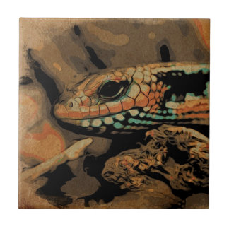 Lizard to the peep ceramic tile