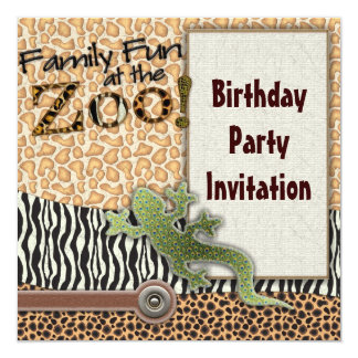 Lizard Zebra Safari Zoo Birthday Party Invitation