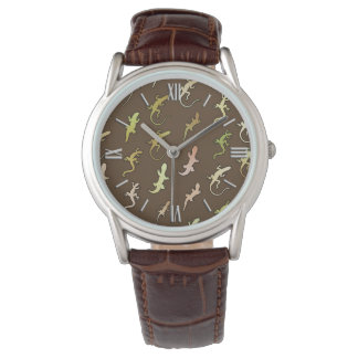 Lizards and Geckos, on coffee brown Watch