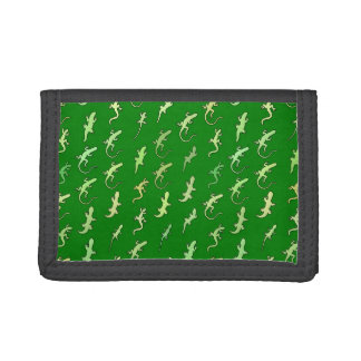 Lizards and Geckos, on pine green Tri-fold Wallet