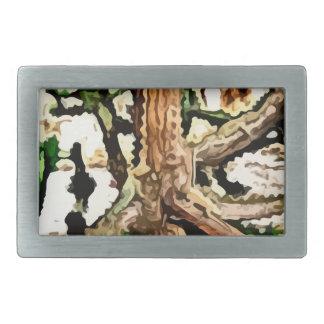 lizards blending in a tree painting rectangular belt buckle