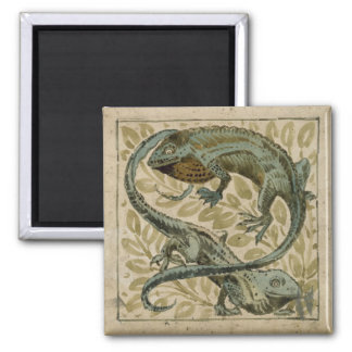 Lizards, design for a tile (w/c on paper) 2 inch square magnet