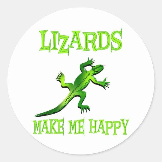 Lizards Make Me Happy Classic Round Sticker