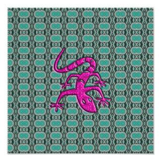 Lizzard azteca de moda en rosa y trullo impresion fotografica