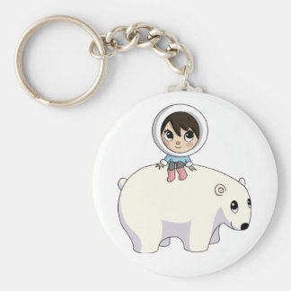 Lizzy and Frosting the Polar Bear Basic Round Button Keychain
