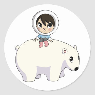 Lizzy and Frosting the Polar Bear Classic Round Sticker