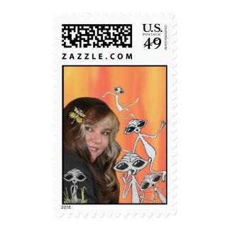 LK & Alien Friends Postage Stamp