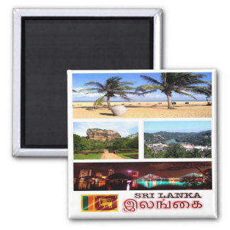 LK - Sri Lanka - mosaico - collage Imán Cuadrado