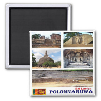 LK - Sri Lanka - Polonnaruwa - mosaico - collage Imán Cuadrado