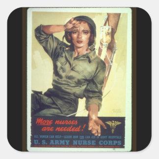 Ll del poster WW del reclutamiento del oficio de Calcomanía Cuadradas Personalizadas