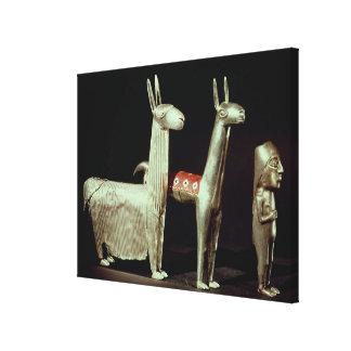 Llama, alpaca and woman canvas print