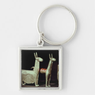 Llama, alpaca and woman keychain