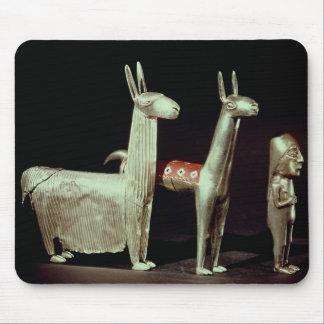 Llama, alpaca and woman mouse pad